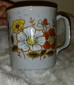 """Vintage Japan Lunch Mates """"SPRING"""" CULTURA COLLECTION STONEWARE COFFE MUG  #LUNCHMATESSPRINGCULTURACOLLECTIONJAPAN"""