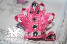 Princess Tiara Crown Ribbon Sculpture Hair Bow.