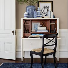 WS Home Lacourte desk, great styling, blue & white