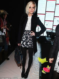 Remember me now? Ashlee Simpson flaunted her slim pins in a graphic-printed skirt at Rebecca Minkoff's fall 2013 fashion show with TRESemme at The Theatre in New York Friday