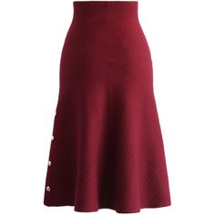 Chicwish Studs Waffle Knit Midi Skirt in Wine ($42) ❤ liked on Polyvore featuring skirts, red, red midi skirt, red skirt, midi skirt, studded skirt and calf length skirts