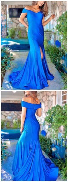 Mermaid Off-the-Shoulder Sweep Train Royal Blue Prom Evening Dress with Split CR 3485 Classy Prom Dresses, Homecoming Dresses, Sexy Dresses, Evening Dresses, Fashion Dresses, Formal Dresses, Wedding Dresses, Party Dresses, Beaded Prom Dress