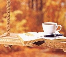 Inspiring picture autumn, coffee, journal, swing. Resolution: 500x320 px. Find the picture to your taste!