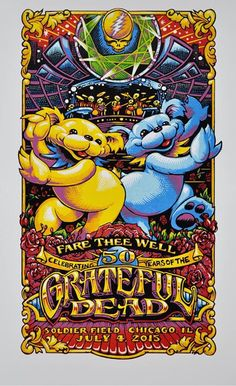 Grateful Dead GD50 Fare Thee Well 7 4 Limited Gig Poster Day 2 Signed AJ Masthay | eBay