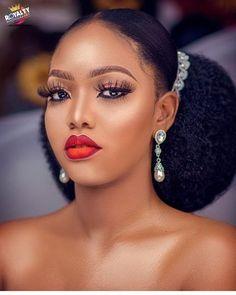Black Bridal Makeup, Makeup For Black Skin, Wedding Hair And Makeup, Hair Makeup, Natural Hair Wedding, Natural Hair Updo, Natural Hair Styles, Natural Wedding Hairstyles, Bride Hairstyles