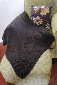 Throw Blanket, Knitted Afghan, Brown