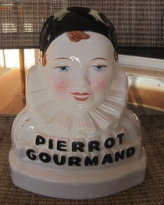 VINTAGE PIERROT GOURMAND LOLLIPOP CANDY STORE DISPLAY STAND CERAMIC  #PierrotGourmand
