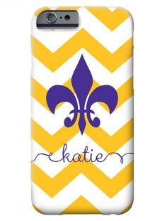 Geaux Tigers!!! iphone 6 case is going on my Christmas wish list!  fleur de lis LSU chevron iphone case | Swanky Press