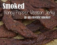Smoked Honey Pepper Venison Jerky in an Electric Smoker Smoker Cooking smoker recipes deer Deer Jerky Recipe, Smoked Beef Jerky, Pepper Beef Jerky Recipe, Smoker Jerky Recipes, Jerkey Recipes, Venison Recipes, Electric Smoker Recipes, Deer, Smoker Recipes