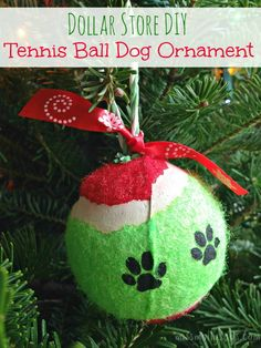 This tennis ball dog ornament would also make a great gift for all your pet friends, or to just let your guests know a precious pooch lives in your home. // via missmollysays.com