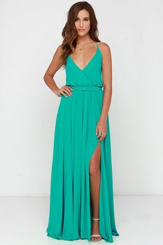 green maxi dress with side slit #summer