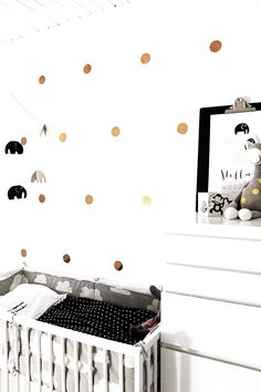 Black, white and gold nursery