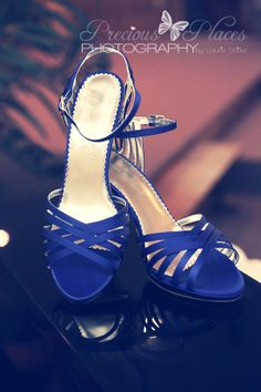 Strappy blue wedding shoes!