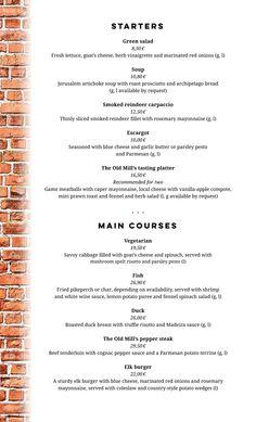 À la carte | Restaurant Myllärit Prosciutto, Mayonnaise, Goat Cheese, Vinaigrette, Spring 2015, Menu, Herbs, Snail, Cards