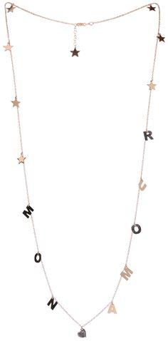 """Kette von MAMAN ET SOPHIEEntzückende Kette des Italienischen Labels Maman et Sophie. Der elegante Schmuck besteht aus einem feinen Goldkettchen sowie zarten Anhängern, die in regelmäßigen Abständen integriert wurden. Mehrere fünfzackige Sterne sowie der Schriftzug """"MON AMOUR"""" machen den romantischen Halsschmuck zu einem besonderen Eyecatcher. Die rosévergoldete Halsketteschließt mittels Karabinerverschluss und verfügt über ein Sternplättchen in Nachkenbereich. Kettenlänge gesamt: ca. 105…"""