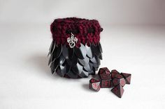 Gorgeous dice bag https://www.etsy.com/listing/588914807/small-scalemail-dice-bag-black-and-red