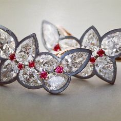 Diamond, ruby, gold and silver ear clips. #jamesdegivenchy…