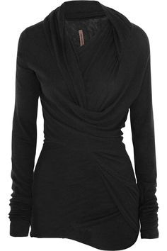 Cozy for fall. Rick Owens twist-front jersey top {{ http://about.me/terri_hermes }}