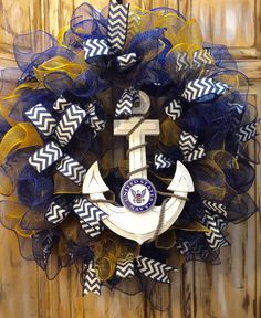 US Navy Wreath Military Wreath USA Wreath by SassyDoorsWreaths