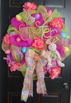 Happy Easter Wreath Round Top Eggs Bunny Deco by MaddysonsLane, $95.00