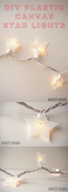 This holiday craft is a twist on standard Christmas lights - add plastic canvas star covers to make them look super cool and modern!