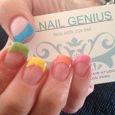 #thenailgenius #nailart #edengelpolish #melbourne #handpainted #acrylicnails #rainbow #pastel