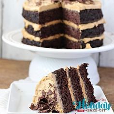 Chocolate Peanut Butter Cake Recipe. Rich and decadent chocolate cake, with layers of peanut butter frosting. Vegan! Earth Balance Holiday Bake Off 2015 Winner!