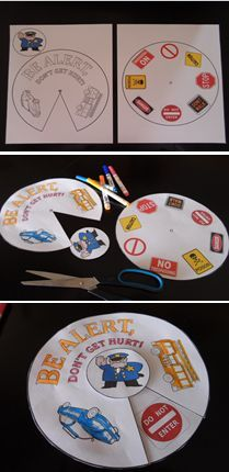 $1 Life Skills - Safety Sign Wheel Activity.  A fun project to teach danger safety signs. Print each page onto card stock. Have student cut each circle out. Color cover sheet. Use a metal Brad to hold all the pieces together. See preview for directions.  Download at:  https://www.teacherspayteachers.com/Product/Life-Skills-Safety-Signs-Wheel-1262269