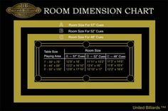 Pool Table Room Dimension Chart