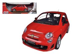 Fiat 500 Abarth Red 1/18 Diecast Car Model by Motormax - Brand new 1:18 scale diecast model car of Fiat 500 Abarth Red die cast car model by Motormax. Has steerable wheels. Brand new box. Rubber tires. Has opening hood, doors and trunk. Made of diecast with some plastic parts. Detailed interior, exterior, engine compartment. Dimensions approximately L-8,W-3.5,H-3,5 inches. Please note that manufacturer may change packing box at anytime. Product will stay exactly the same.-Weight: 4. Height…