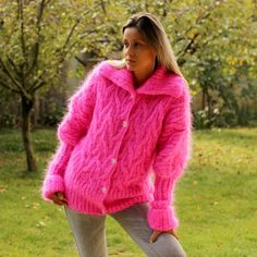 Cable Hand Knit Mohair Cardigan Fuzzy Coat Jumper by EXTRAVAGANTZA