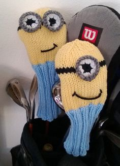 Knitting Pattern for Minion Golf Club Covers - The main body is knit and the eyes are crochet or cut out of felt. The designer is also willing to knit a set for you. Golf Club Covers, Golf Club Sets, Golf Clubs, Crochet Hand Warmers, Golf Headcovers, Knitting Patterns, Crochet Patterns, Knitting Ideas, Free Knitting