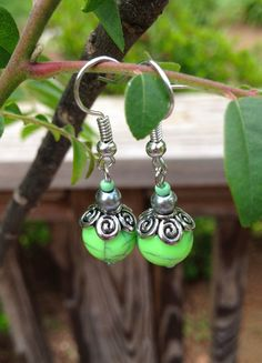 Lime Green and Silver Dangle Earrings by THEarrings on Etsy