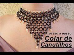 NM Bijoux - Canutilhos necklace - step by step - Seed Bead Jewelry, Beaded Jewelry, Beaded Necklace, Beaded Bracelets, Jewelry Making Tutorials, Beading Tutorials, Macrame Colar, Necklace Tutorial, How To Make Necklaces