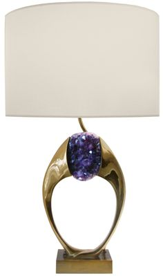 Willy Daro Sculptural Bronze and Amethyst Lamp  Belgium  1970's  A sculptural bronze lamp holding a large amethyst cluster by Willy Daro, Belgian C.1970's