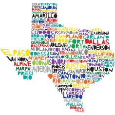 Fun colorful print of Texas with Cities, even my teensy hometown of Littlefield is on here :)