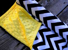 Baby Quilt Chevron Black and White w/ Yellow Bubble by Lolasitas, $32.00