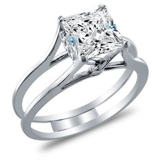 Cubic Zirconia Engagement Rings Set in White Gold