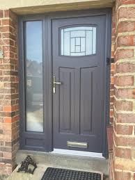 Exterior Lyon Six Upvc Door External White PVC Doors. Yellow And Gray Design With Paint For The Exterior Of Your . Home Design Ideas House Design, House Entrance, Front Doors Uk, Front Door, Entry Doors, Grey Front Doors, Exterior Stairs, Front Porch Design, Doors