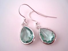 Green Glass Earrings  St. Patrick's Day by Sparkleandswirl on Etsy, $20.00