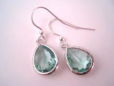 Green Glass Earrings  Light Green Earrings  by Sparkleandswirl, $20.00