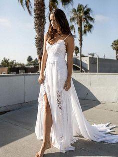 A-line Spaghetti Strap White Lace Chiffon Beach Wedding Bridal Dresses SWD0023