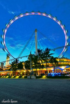 An amazing view of Singapore Flyer Best Places In Singapore, Singapore Map, Singapore Attractions, Universal Studios Singapore, Gardens By The Bay, Instagram Story Ideas, Night Life, Places To Go, Tourism