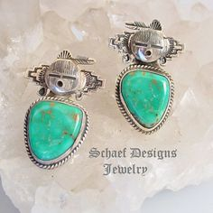 Bennie Ration artist signed turquoise Kachina Earrings ~ Schaef Designs New Mexico