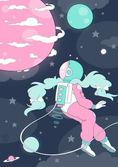 This beautiful space girl illustration makes my heart sing! Handy Wallpaper, Space Girl, Kawaii Wallpaper, Pastel Art, Aesthetic Art, Aesthetic Wallpapers, Cute Wallpapers, Cute Art, Art Inspo