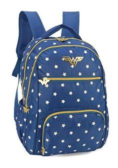 1bc239ccc Mochila Mulher Maravilha Azul Porta Laptop Notebook Mochila Juvenil  Estampada Com Estrelas Original NF Garantia Linda