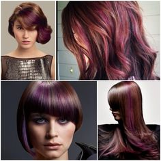 red violet hair color with blonde highlights Dark Plum Hair Color, Dark Violet Hair, Violet Hair Colors, Hair Colours, Elumen Hair Color, Hair Color Formulas, Hair Color Highlights, Hair Day, Bellisima