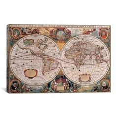 iCanvas Henricus Hondius Antique World Map Canvas Print Wall Art