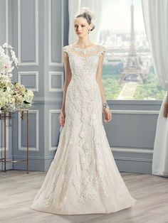 Moonlight Collection J6366 romantic blush and ivory lace wedding gown with…