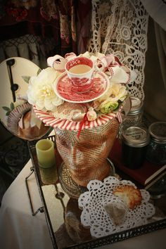Ladies Spring Hat Red and White Teacup Hat by TheSistersBrimm, $255.00